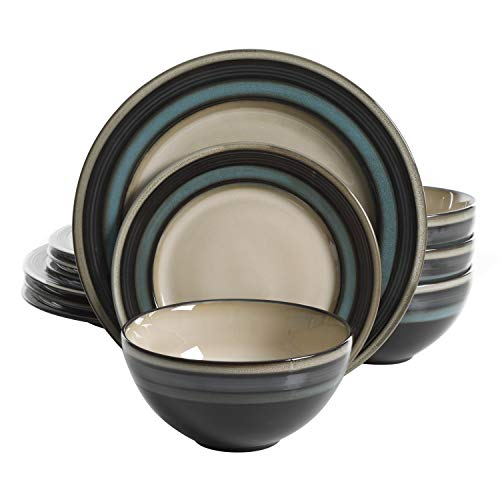 Gibson Elite Everston 12 Piece Dinnerware Set, Teal