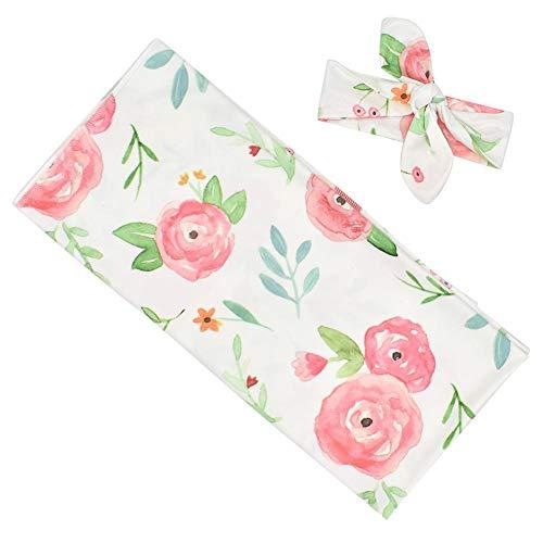 Recién envuelto Swaddle, bolsa de dormir suave para bebés con estampado de flores con banda para el cabello Juego de toallas de manta para bebés (0-3 meses de edad)(rosado)