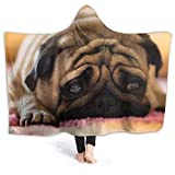 Boys Girls Wearable Blanket, Pug Dog Sad Cute Pet Funny Animal Pattern Hooded Blanket, Anti-Dirty Spring Moving Throw Blanket for Bed, Plane, 80 x 60 inch