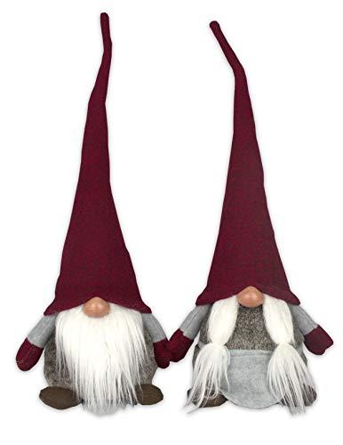 Tata Home Coppia Pupazzi Fermaporta Gnomi Elfi Nani Decorativi Altezza 42 cm Color Rosso Tirolese