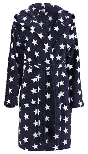 Brandsseller Damen Bademantel mit Sternen (S/M, Navy/Weiß)