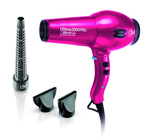 Diva Professional Ultima 5000 Pro Black Diva Sèche-cheveux professionnel avec moteur AC longue durée et embout étroit professionnel rose