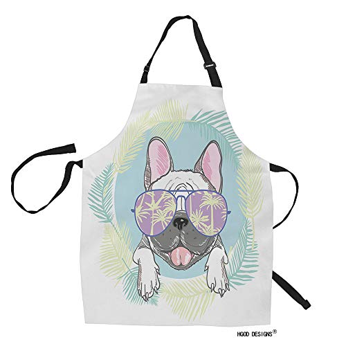 HGOD DESIGNS Bulldog Kitchen Apron,Funny Cartoon French Bulldog Head with Sunglasses and Leaves Kitchen Aprons for Women Men for Cooking Gardening Adjustable Home Bibs,Adult Size