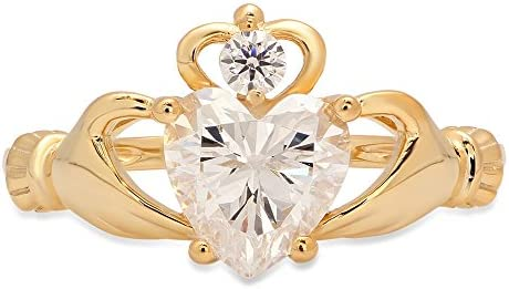 1 65ct Brilliant Heart Cut Irish Celtic Claddagh Solitaire Statement Simulated Diamond Ring product image