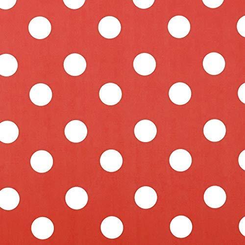 Jolee Fabrics - Tovaglia in vinile PVC con pois bianchi, lavabile, impermeabile, igienica e lavabile, diametro 140 cm, colore: Rosso