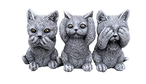 Steinfigur 3er Set Kätzchen Katzen Nichts sehen Nichts hören Nichts Sagen wetterfest Steinguss