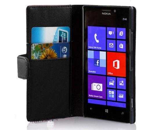 Cadorabo Custodia Libro per Nokia Lumia 925 in Nero - con Vani di Carte e Funzione Stand di Similpelle Fine - Portafoglio Cover Case Wallet Book Etui Protezione
