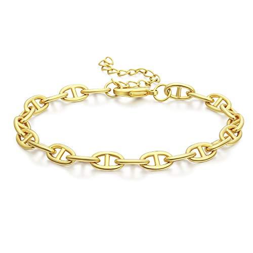Reoxvo - Pulseras de cadena de espiga de espiga, chapado en oro de 18 quilates, para mujer