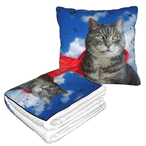 Gris gato rojo Oculto Dove Sky Premium Soft Travel Franela Manta Almohada Avión Manta Mantas Tamaño Doble 2 en 1 Lujo Cálido Acogedor