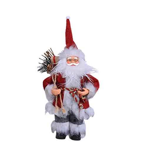 Amosfun Weihnachtsmann Figur Plüsch Nikolaus Spielzeug Weihnachtsfiguren Dekofigur Plüschfigur Weihnachten Tischdeko Winter Schaufenster Dekoration