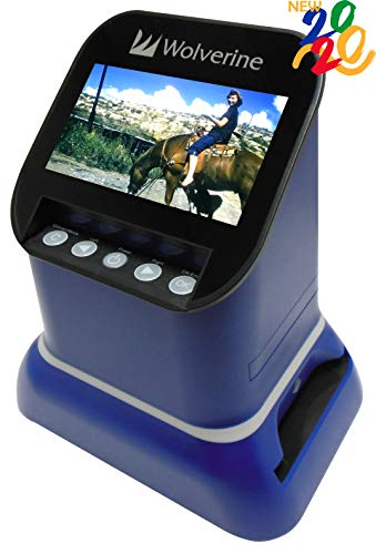 Wolverine F2D Saturn Digital Film & Slide Scanner - Converts 120 Medium Format, 127 Film, Microfiche, 35mm Negatives & Slides to Digital JPEG - Large 4.3' LCD w/HDMI Output (Blue)