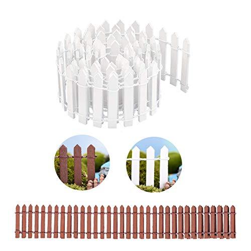 Mirrwin Clôture Miniature en Bois Clôture de Jardin Miniature Décoration de Jardin Mini Clôture en Bois pour les Fées Jardin Terrarium Maison de Poupée Bricolage Accessoires Décoration 2 Pièces