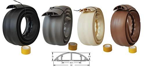 netproshop Fußboden Kabelkanal PVC (Flexibel, Selbstklebend, 75,2x17,4mm) (1,83 Meter), Farbe:Beige