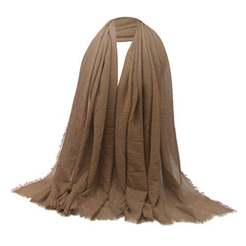 non-brand Bufanda Larga Suave de Moda Chal Hijab Liso Abrigo de Pañuelo Judío Musulmán - marrón, Los 90x180cm