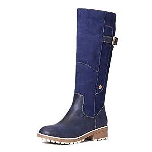 gracosy Botas Altas Mujer Invierno 2020 Zapatos Tacon Ancho Bajo Nieve Piel Forrado Calentitas Botas Antideslizante Peso… | DeHippies.com