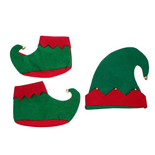 TOYANDONA 1 Juego de Disfraz de Elfo de Navidad para Nios Sombrero de Fieltro de Elfo de Navidad Y Zapatos de Elfo Accesorios de Disfraz de Navidad para Fiesta de Navidad de 5 a 8 Aos