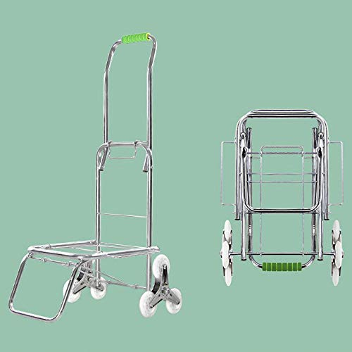 Iron Multi-Functional Hand Trucks With Anti Puncture Silent Wheel and 100 kg Capacity,Silver Folding Shopping Bag on Wheels for Mobile Travel, Shopping, Office Use