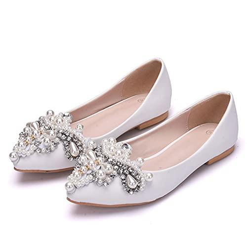 AORISSE Zapatos De Novia De Mujer, Zapatos De Boda con Pedrería Blanca...