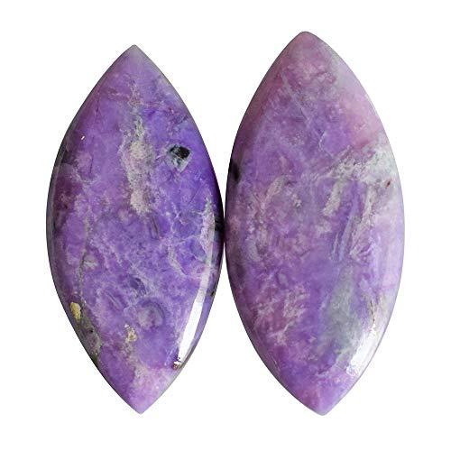 Par de cabujón sugilita púrpura natural sudafricano, forma de marquesa, tamaño 23 x 11 x 3 mm, colgante de piedra, sugilite, AG-13597