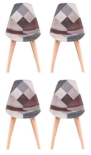 Y&D HOME - Silla de comedor de estilo nórdico, diseño de patchwork científico, con asiento de cojín suave y patas de haya natural para cocina, salón, oficina, vestíbulo, recepción, juego de 4 (gris)