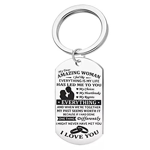 FGHHT Llavero para Carta Womans Llavero Hombres Te Amo Pendiente de la Llave del Anillo Unisexsostenedor de la Llave