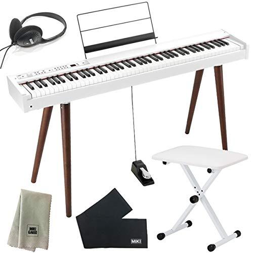 KORG コルグ DIGITAL PIANO D1 WT ホワイト + 椅子 + ヘッドホン + 木製スタンド セット (鍵盤カバー + クリーニングクロス 付き)
