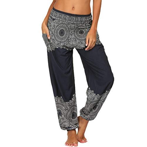 Nuofengkudu Damen Hippie Haremshosen mit Taschen Leichte Boho Muster Bunt High Waist Yogahosen Sommer Lockere Aladin Hosen (Schwarz A,One Size)