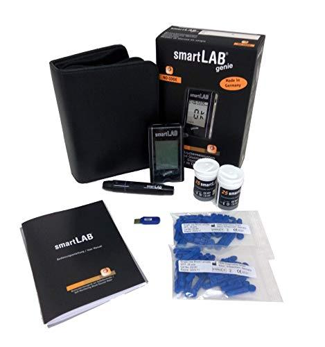 smartLAB genie Blutzuckermessgerät Vorteilspack mit 50 Teststreifen und 50 Lanzetten | Messgeräte mit großem Display