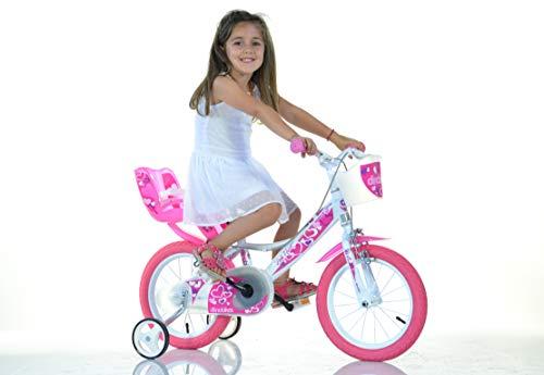 Dinobikes Mädchen Kinderfahrrad weiß 144RN Mädchenfahrrad – 14 Zoll | TÜV geprüft | Original | Kinderrad mit Stützrädern - Das Fahrrad als Geschenk für Mädchen