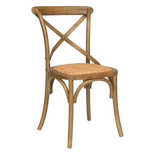 Totò Piccinni Sedia in Legno Design Cross, Seduta Intreccio Rattan, Alta QUALITA' (Marrone Chiaro, 1)