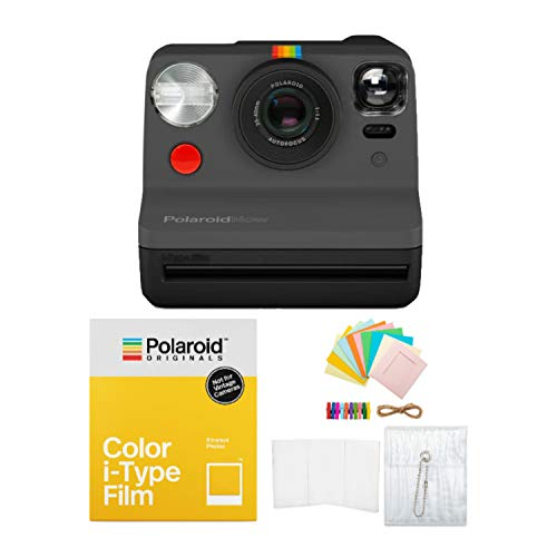 Polaroid Originals Now Viewfinder i-Type Instant Camera (Black) with i-Type Films and Accessory Bundle