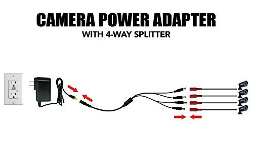 Security Camera Power Adapter with Splitter,ISEEUSEE Camera Cable 12V 2A 100V-240V with 4-Way Power Splitter Cable FCC UL Certified CCTV Power Adapter Transformers-Fits Analog/AHD DVR/Camera