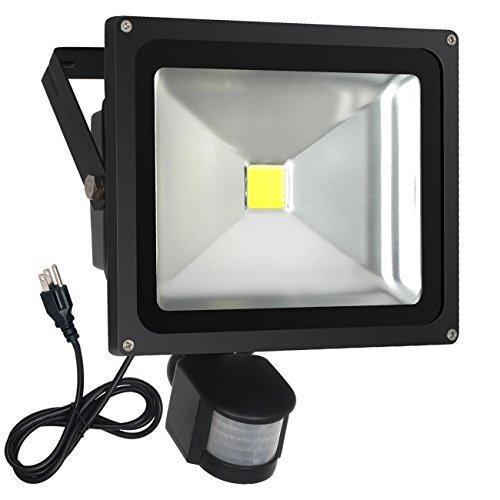 FASIHILAN 30W Motion Sensor Flood Light, Outdoor Waterproof Wall Light Fixture, 2400LM PIR Sensitive Security Light, Auto ON/Off Floodlight Lamp, 6000K Intelligent Light with US 3-Plug
