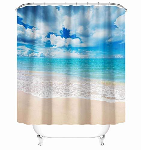 "Taysta Fabric Shower Curtain Curtains with Hooks Beautiful Tropical Ocean Beach in Summer Blue Sky Decor Creative Home Ideas 72""X72"" Waterproof Decorative Bathroom"