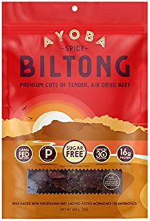 Ayoba Spicy Biltong - Grass Fed, Keto and Paleo Certified Air-Dried Beef Snack - Better Than Jerky Tender Steak Cuts - Whole 30 Approved, No Sugar, Gluten Free, No Nitrates (4 Ounce)