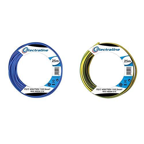 Electraline 13162Cable unipolar FS17, sección 1x 2.5mm², Azul, 25m + 13172Cable unipolar...