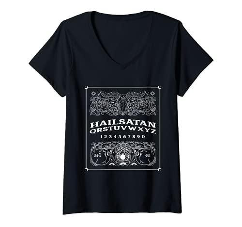 Mujer Ave Satán Ouija Junta espeluznante juego de terror Jugar Halloween Camiseta Cuello V
