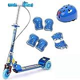 Yui Modelo a Seguir Scooter, Niños Frenos Dobles Plegables De 3 Ruedas Conmutador Altura del Mango Ajustable Juventud con Equipo De Protección 2-14 Años Modelo a Seguir (Color : Blue)