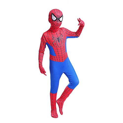 GUOHANG Kind Spiderman Kostüm Unisex Erwachsene Kinder Superheld Spiderman Cosplay Kostüm Anzug Lycra Spandex Zentai 3D Style Jumpsuit Bodysuit Halloween Aktivitäten Kostüme,A,110CM~120CM