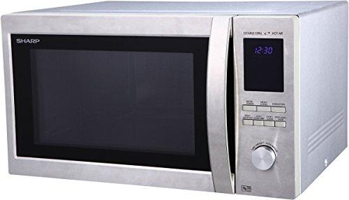 Sharp R982STWE 3-in-1 Mikrowelle mit Heißluft und Grill / 42 L / 1000 W / 1300 W Infrarotgrill / 2700 W Heißluft / 10 Automatikprogramme / LED-Display mit Uhr / Glasdrehteller (34,5 cm) / Edelstahl