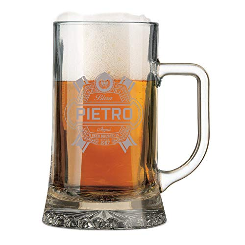 Boccale da Birra con Incisione Personalizzabile Compleanno - Auguri - personalizza con Nome e Anno - Bicchiere in Vetro 50 cl