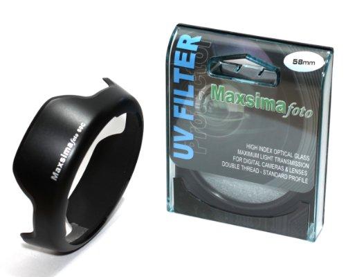 Maxsimafoto - EW-60C y parasol 58 mm filtro UV/Protector de pantalla para Canon EF-S lentes de 18-55mm f/3,5 -  5,6. 450D 500D 550D 600D 650D 700D.