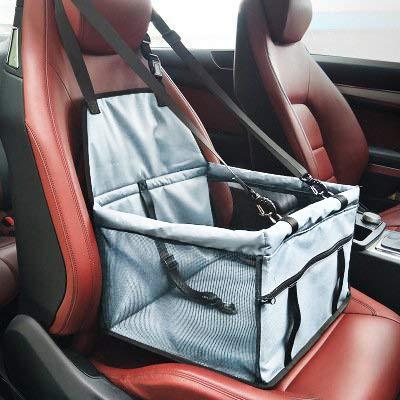 Mascota Coche Asiento Carrier - Car Booster Bolsa portátil y Transpirable para Perros Cat hasta 25LB (Gris)