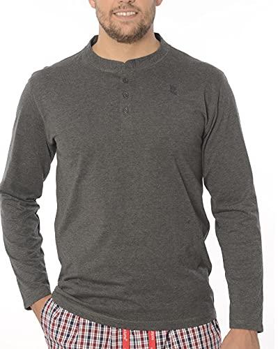 El Búho Nocturno - Camiseta Manga Larga Punto Tapeta Lisa Gris Oscuro 60% algodón 40% Viscosa...