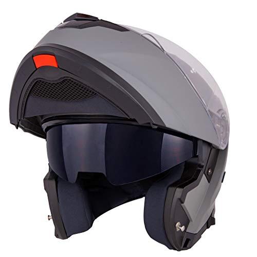 Vinz Santiago Klapphelm mit Sonnenblende | PINLOCK vorbereitet | Motorrad Helm Integralhelm | Motorradhelm | In Gr. XS-XL | Titanium
