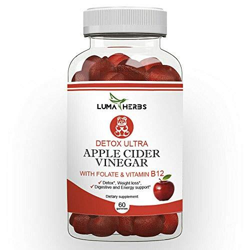 Apple Cider Vinegar Gummies - with Folate & Vitamin B12-1000 mg - High Potency, Weight Loss, Detox, Energy Support - ACV 60 Vegan Gummies