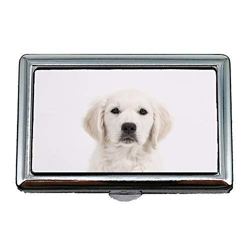 Hard Box Zigarettenetui, Hund Golden Retriever Welpe reinrassigen Hund Cute Pet01, Visitenkartenetui Visitenkartenetui Edelstahl