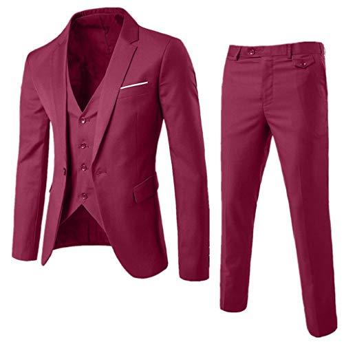 Luckycat Traje para Hombre Chaqueta Delgada de 3 Piezas Traje de Fiesta de Boda de Negocios Chaqueta Chaleco y Pantalones Esmoquin Traje Suit Hombre