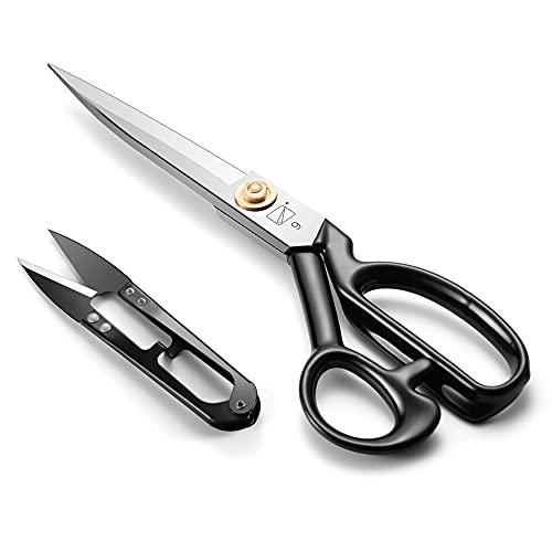 Tijeras de costura de 24 cm, tijeras de tela de alta calidad de acero al carbono, tijeras de sastre afiladas para cortar cuero, ropa, jeans, tejidos, alfombras (blancas, diestros)