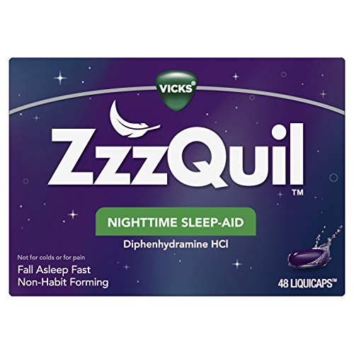 ZzzQuil, Nighttime Sleep Aid LiquiCaps, 25 mg Diphenhydramine HCl, #1 Sleep-Aid Brand, Non-Habit Forming, Wake Refreshed, 48 LiquiCaps (Packaging May Vary)
